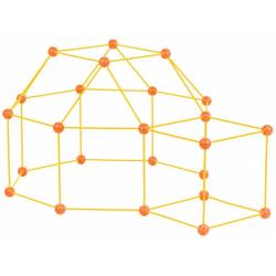 ZWARIOWANY NAMIOT żółto-pomarańczowy zestaw konstrukcyjny 72 el.
