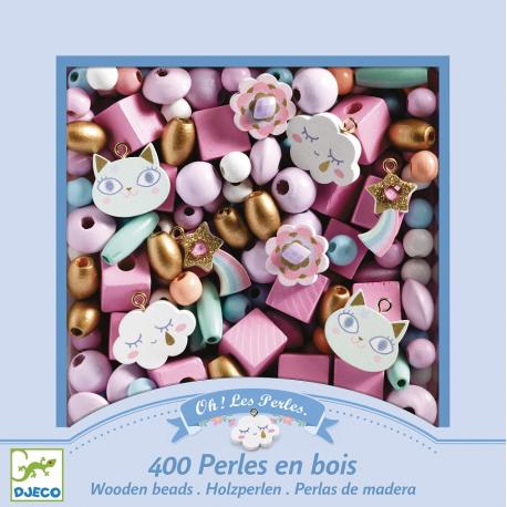 TĘCZA drewniane koraliki zestaw do tworzenia biżuterii 400 el.