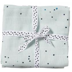 BLUE bawełniany otulacz zestaw 2 szt. 120x120 cm Dreamy dots