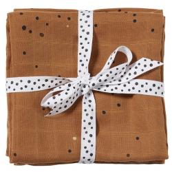 MUSTARD bawełniany otulacz zestaw 2 szt. 120x120 cm Dreamy dots