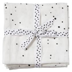 WHITE bawełniany otulacz zestaw 2 szt. 120x120 cm Dreamy dots