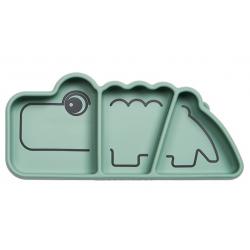 CROCO zielony silikonowy talerzyk z przegródkami na przekąski