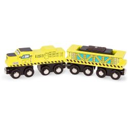 ZIELONA LOKOMOTYWA drewniany pojazd magnetyczny z wagonem