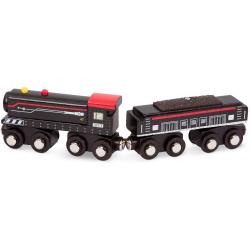 BRĄZOWA LOKOMOTYWA drewniany pojazd magnetyczny z wagonem