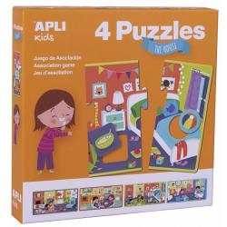W DOMU puzzle tekturowe zestaw 4 układanek