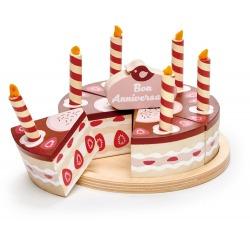 DREWNIANY TORT urodzinowy czekoladowy