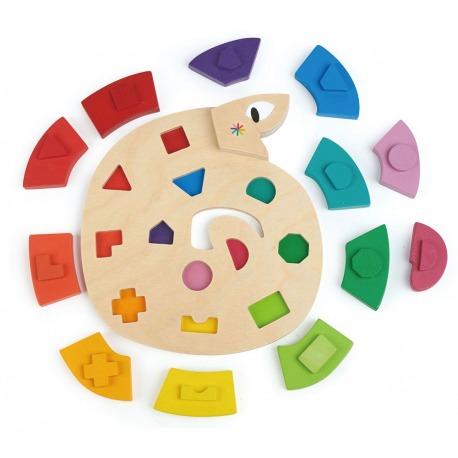 DREWNIANY WĄŻ nauka kolorów i kształtów
