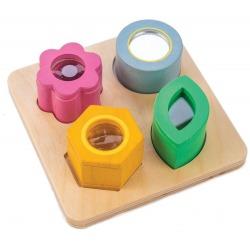 KWIATKI drewniana zabawka sensoryczna optyczna