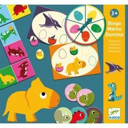 DINOZAURY gry edukacyjne bingo memo domino 3w1