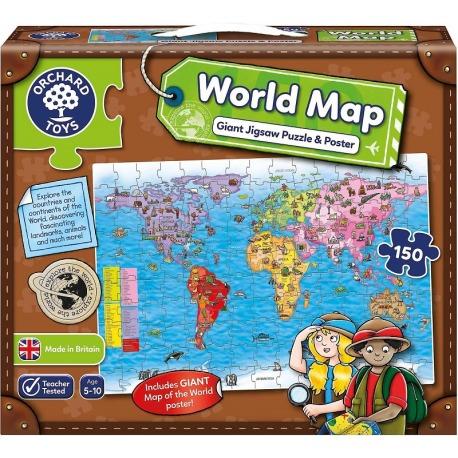 MAPA ŚWIATA puzzle podłogowe