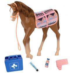 KASZTANOWY źrebak koń 30 cm dla lalki