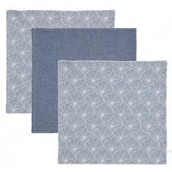 BAWEŁNIANE CHUSTECZKI zestaw 3 szt. 25x25 cm Lily leaves blue/Pure blue