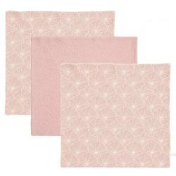 BAWEŁNIANE CHUSTECZKI zestaw 3 szt. 25x25 cm Lily leaves pink/Pure pink