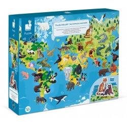 ZAGROŻONE GATUNKI puzzle tekturowe z figurkami 3D 200 el.