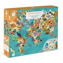 DINOZAURY puzzle tekturowe z figurkami 3D 200 el.