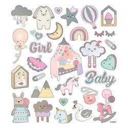 BABY GIRL naklejki holograficzne