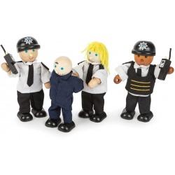 POLICJANCI drewniane laleczki 4 szt.