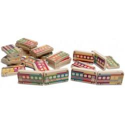 POCIĄGI drewniane domino 28 el.