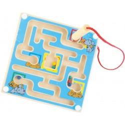 NIEBIESKI LABIRYNT magnetyczny drewniana gra zręcznościowa