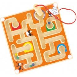 POMARAŃCZOWY LABIRYNT magnetyczny drewniana gra zręcznościowa