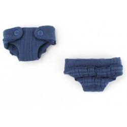 ZESTAW PIELUSZEK MUŚLINOWYCH Z FALBANKĄ dla lalki Navy Blue 21 cm