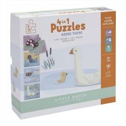 ZWIERZĄTKA puzzle tekturowe zestaw 4 układanek Little Goose