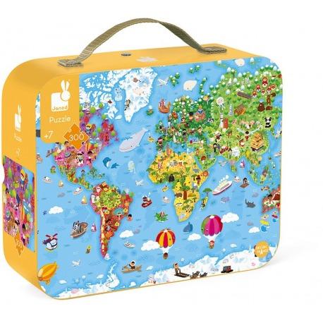 OGROMNA MAPA ŚWIATA puzzle tekturowe w walizce 300 el.