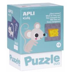 CO JEDZĄ ZWIERZĄTKA puzzle tekturowe duo