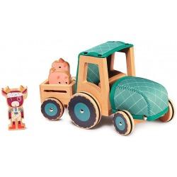 KRÓWKA ROSALIE drewniany traktor z przyczepą i 2 świnkami