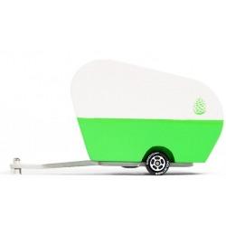 PINECONE zielona drewniana przyczepka do samochodu