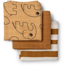 MUSTARD gots bawełniana pieluszka zestaw 3 szt. 70x70 cm Sea Friends
