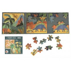 DINOZAURY puzzle magnetyczne 2x20 el.