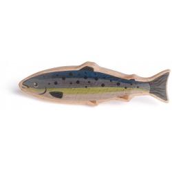 ŁOSOŚ drewniana rybka zabawa w sklep