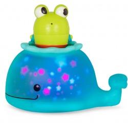ŚWIECĄCY WIELORYB z rozkręcaną sikawką żabką zabawka do kąpieli Glow & Splash