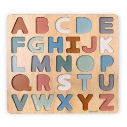 DREWNIANY ALFABET 3D z tablicą puzzle Sweet Cocoon