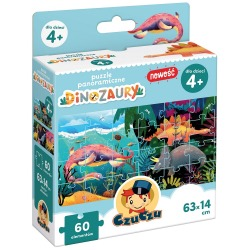 DINOZAURY puzzle panoramiczne tekturowe 60 el.
