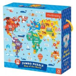MAPA ŚWIATA puzzle podłogowe jumbo 25 el.