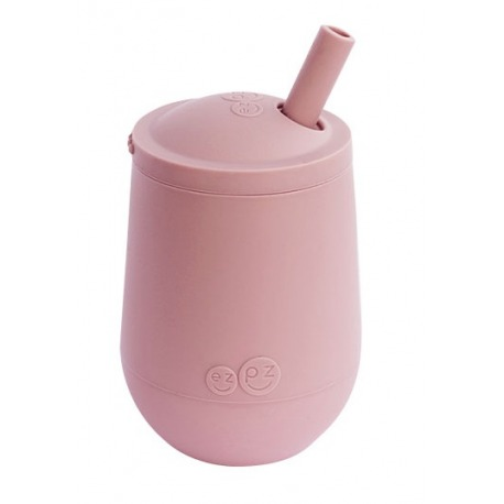 SILIKONOWY KUBECZEK ZE SŁOMKĄ różowy Mini Cup + Straw Training