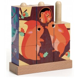 RODZINKI Z LASU drewniane klocki układanka Puzz up 9 el.