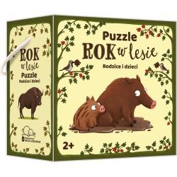 ROK W LESIE Rodzice i dzieci puzzle dwuelementowe
