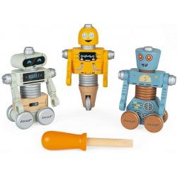 DREWNIANE ROBOTY do składania ze śrubokrętem Brico'kids