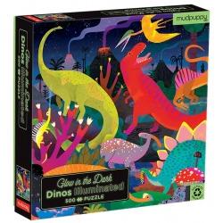 DINOZAURY puzzle tekturowe rodzinne świecące w ciemności 500 el.