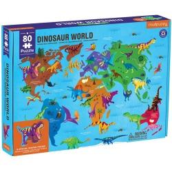 ŚWIAT DINOZAURÓW puzzle tekturowe z elementami w kształcie dinozaurów 80 el.