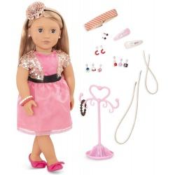 AUDRA duża lalka blondynka 46 cm z kompletem biżuterii