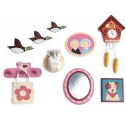 DEKORACJE ŚCIENNE drewniane akcesoria do domku dla lalek