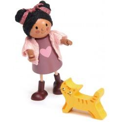 AYANA drewniana laleczka z kotkiem