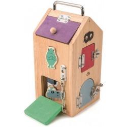 DOMEK POTWORÓW drewniana zabawka manipulacyjna z zamkami