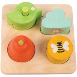 OGRÓD drewniana zabawka sensoryczna kształty i dźwięki