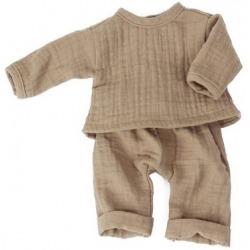 CAPPUCCINO zestaw muślinowy spodnie i bluzka dla lalki 38 cm