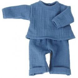 DENIM BLUE zestaw muślinowy spodnie i bluzka dla lalki 38 cm